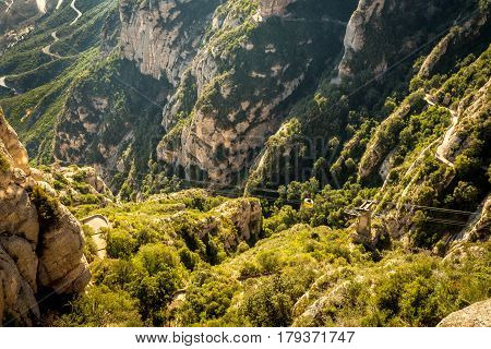View To Cableway To Montserrat Monastery
