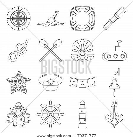 Nautical icons set. Outline illustration of 16 nautical vector icons for web