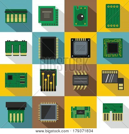 Computer chips icons set. Flat illustration of 16 computer chips vector icons for web