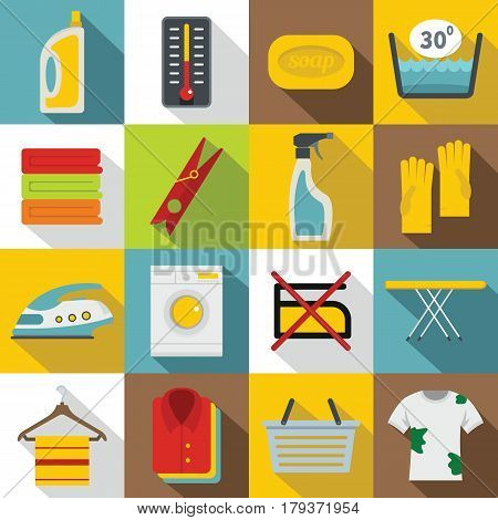 Laundry icons set. Flat illustration of 16 laundry vector icons for web