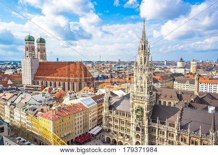 The Marienplatz town hall in Munich Germany.