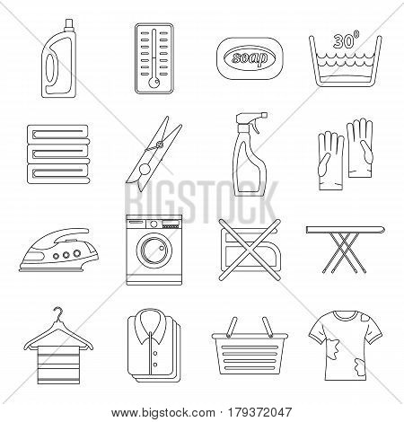 Laundry icons set. Outline illustration of 16 laundry vector icons for web