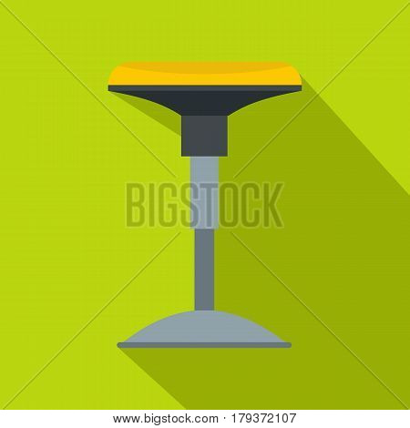 Yellow bar stool icon. Flat illustration of yellow bar stool vector icon for web isolated on lime background