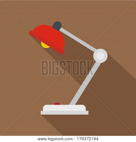 Red desk lamp icon. Flat illustration of red desk lamp vector icon for web isolated on coffee background
