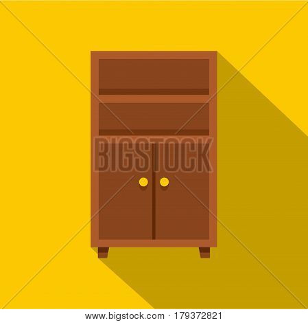 Wooden cabinet icon. Flat illustration of wooden cabinet vector icon for web isolated on yellow background