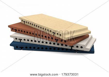 Terracotta matt tiles for ventilated facade cladding isolated on white background. 3d illustration