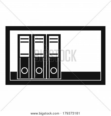 Office folders on the shelf icon. Simple illustration of office folders on the shelf vector icon for web