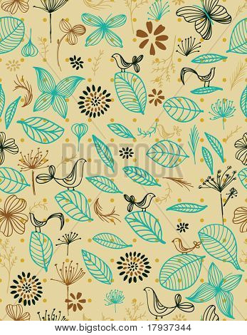 Vector Floral with bird (Seamless Pattern)