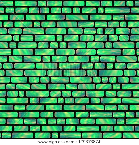 Seamless Pattern of Green Holographic Rectangles. Creative Geometric Background Continued Design.