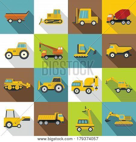 Building vehicles icons set. Flat illustration of 16 building vehicles vector icons for web