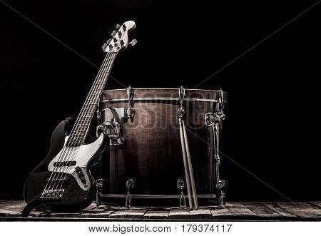 Musical Instruments, Drum Bass Bochka Bass Guitar On A Black Background