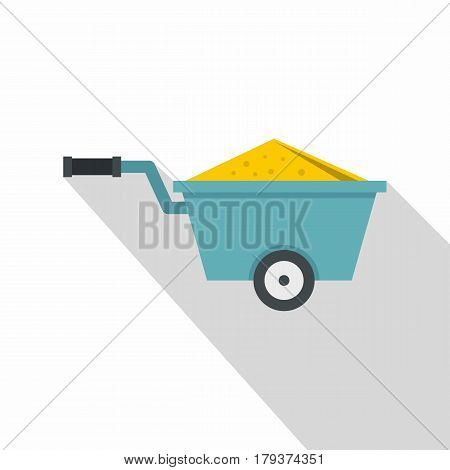 Wheelbarrow full of sand icon. Flat illustration of wheelbarrow full of sand vector icon for web isolated on white background