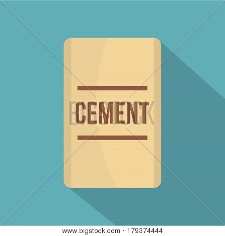 Bag of cement icon. Flat illustration of bag of cement vector icon for web isolated on baby blue background