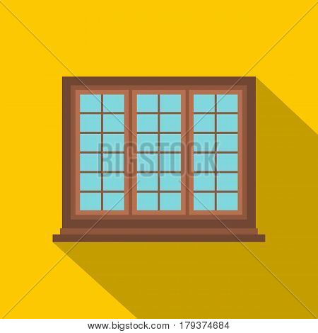 Wooden brown tricuspid window icon. Flat illustration of wooden brown tricuspid window vector icon for web isolated on yellow background
