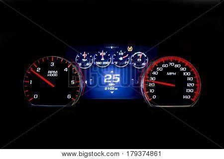 Modern Light Car Mileage On Black Background 25 Mph