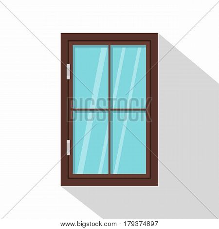 Closed brown window icon. Flat illustration of closed brown window vector icon for web isolated on white background