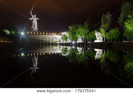 A part of Mamaev Kurgan and Motherland monument in Volgograd, Stalingrad, Russia (February 23, May 9, Victory day Russian patriotic military holiday).