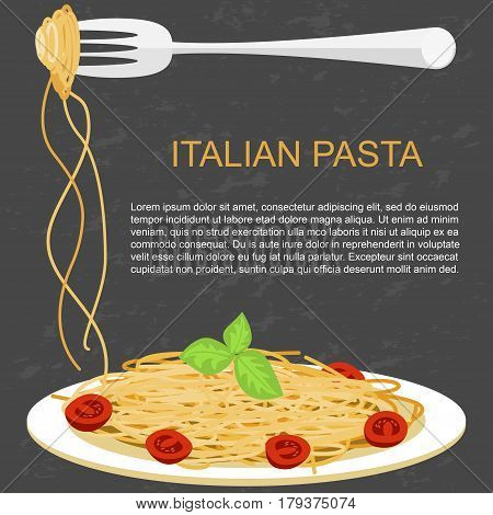 Template of italian spaghetti with tomato with mussels. Trendy concept for pasta label, restaurant menu, cafe, fast food, pizzeria. Vector illustration eps 10