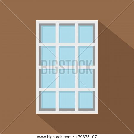 White latticed rectangle window icon. Flat illustration of white latticed rectangle window vector icon for web isolated on coffee background