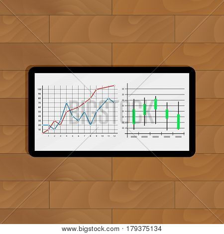 Stock market statistics and quotes. Presentation forecast on tablet vector illustration