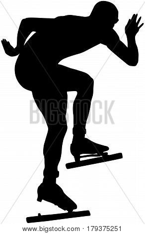 athlete speed skating ice arena turn black silhouette