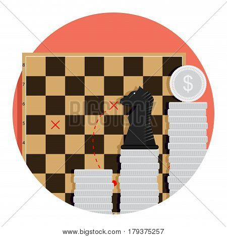 Step strategy finance. Economic tactic invest vector illustration