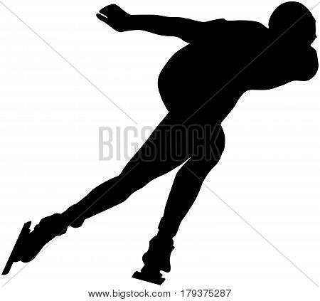male athlete speed skating turn ice arena