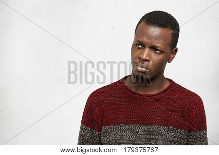 Miserable Pathetic Young African Male About To Busrt Out Crying, Feeling Unhappy And Upset After Bre