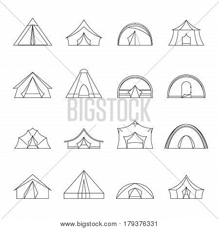 Tent forms icons set. Outline illustration of 16 tent forms vector icons for web