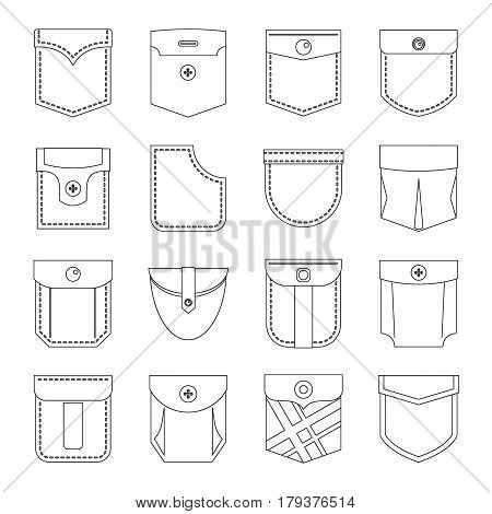 Pocket types icons set. Outline illustration of 16 pocket types vector icons for web