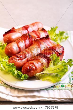 Pigs in blankets - sausages wrapped in bacon strips