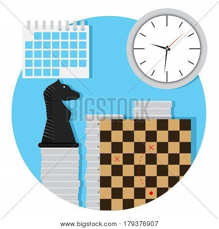 Business strategy icon. Business success economic chessboard and decision vector illustration