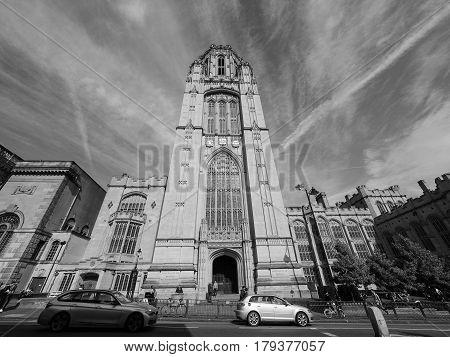 Bristol University Wills Memorial In Bristol In Black And White