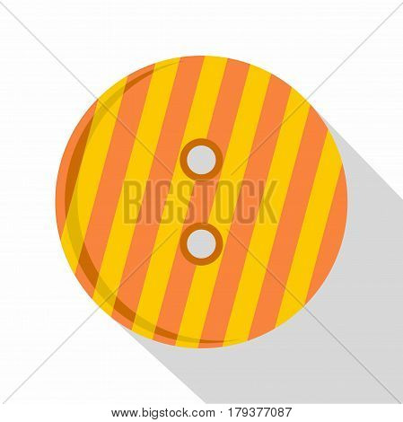 Striped orange and yellow clothing button icon. Flat illustration of striped orange and yellow clothing button vector icon for web isolated on white background