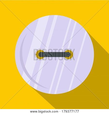 White clothing button icon. Flat illustration of white clothing button vector icon for web isolated on yellow background