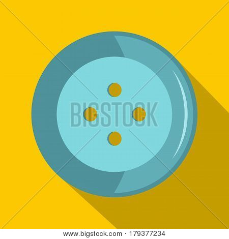 Blue clothing button icon. Flat illustration of blue clothing button vector icon for web isolated on yellow background