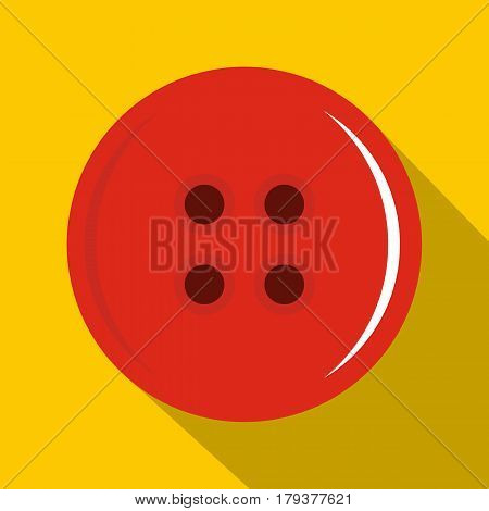 Red sewing button icon. Flat illustration of red sewing button vector icon for web isolated on yellow background