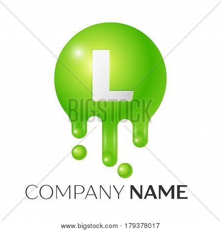 L Letter splash logo. Green dots and bubbles letter design on white background. Vector Illustration