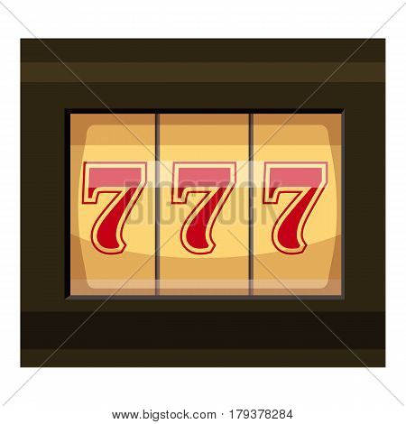Slot machine with three sevens icon. Cartoon illustration of slot machine with three sevens vector icon for web