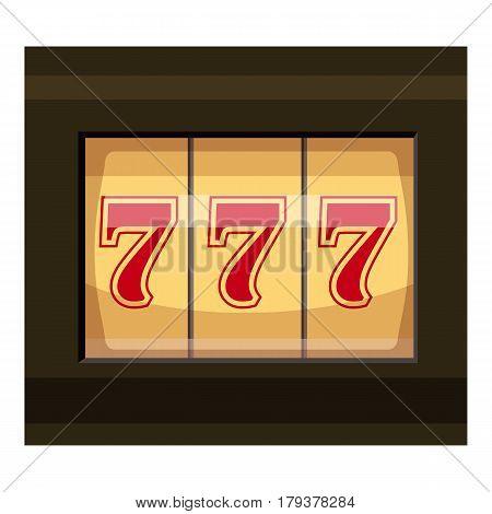 Slot machine with three sevens icon. Cartoon illustration of slot machine with three sevens vector icon for web
