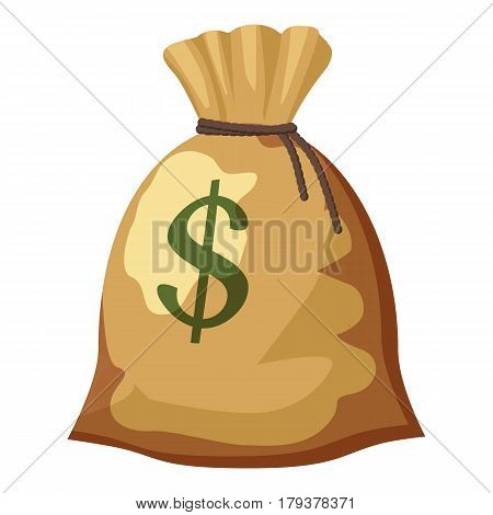 Money bag with dollar sign icon. Cartoon illustration of money bag with dollar sign vector icon for web