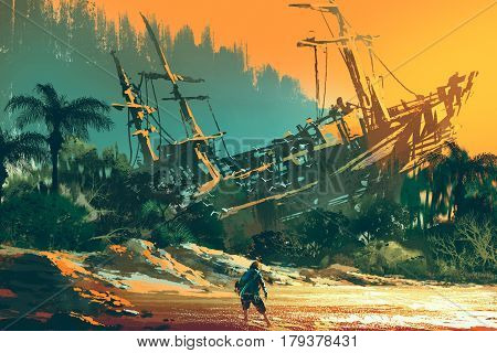 the castaway man standing on island beach with abandoned boat at sunset, illustration painting