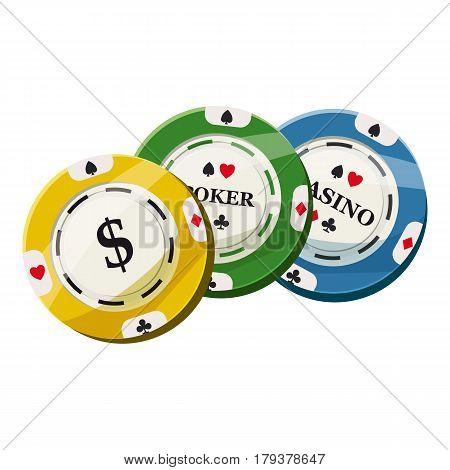 Colorful casino tokens icon. Cartoon illustration of colorful casino tokens vector icon for web