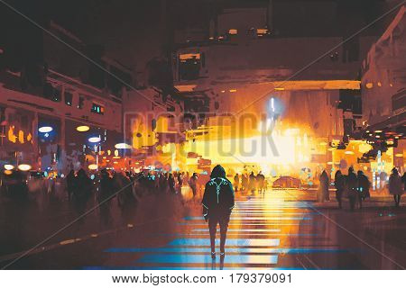 man standing on street looking at futuristic city at night sci-fi concept, illustration painting