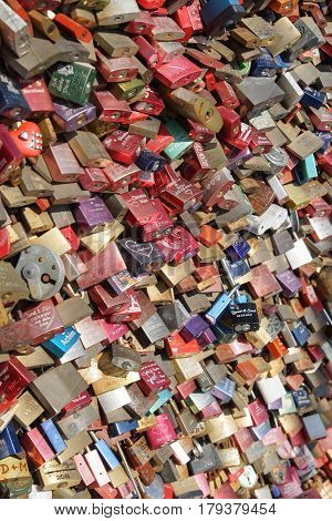 COLOGNE, GERMANY - MARCH 23, 2017: Love Lock Gallary of Cologne on March 23, 2017 in Germany, Europe