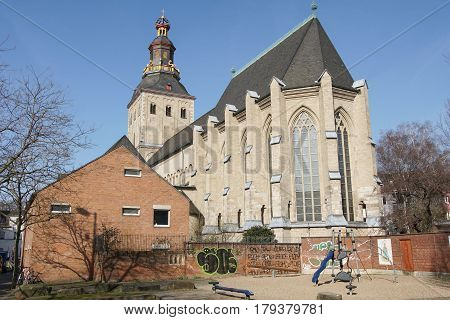 COLOGNE, GERMANY - MARCH 16, 2017: Church St. Ursula, one of the big Romanesque churches of Cologne on March 16, 2017 in Germany, Europe