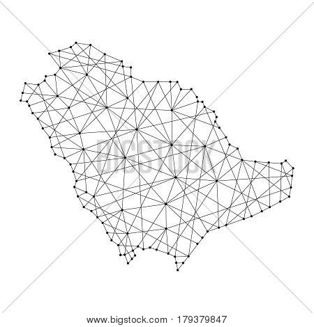 Map of Saudi Arabia from polygonal black lines and dots of vector illustration