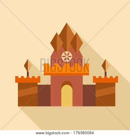 Ancient castle icon. Flat illustration of ancient castle vector icon for web