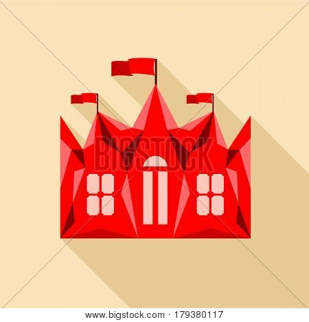 Red ancient castle palace icon. Flat illustration of red ancient castle palace vector icon for web