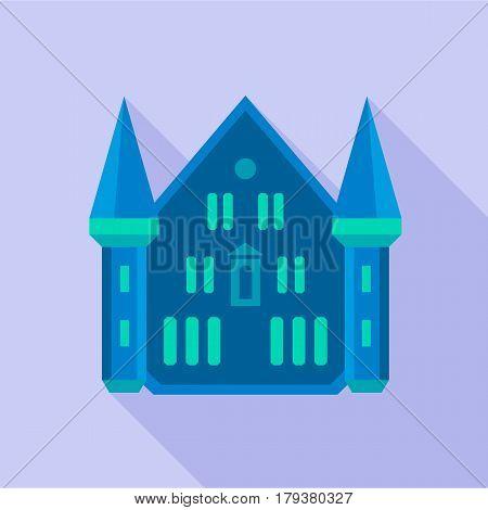 Blue castle palace icon. Flat illustration of blue castle palace vector icon for web